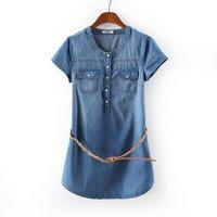 2014 summer Women's short-sleeve denim dresses pullovers pocket dress with belt for women fashion desigual mini ladies dress XXL
