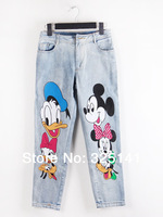Women Jeans Special Sashes Mid Offer Appliques Loose Leggings 2014 New Spring for Mickey Mouse Baggy Nine Feet Waist Boyfriends
