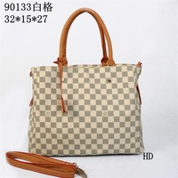 Free shipping brown white checker bag desinger handbag women tote fashion purse 32x15x27cm HD90133