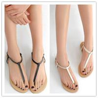 New Roman Flat Sandals For Women Sandals Summer Black White Sweet Ladies Fashon Leisure Shoes PDX103