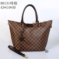 Free shipping brown white checker bag desinger handbag women tote fashion purse 43x14x30cm HD90131