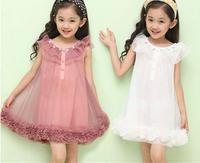 Retail 2014 new Korean girls dress princess dress solid color chiffon dress Free Shipping