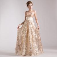 2014 gold long design paillette tube top slim bride princess evening dress