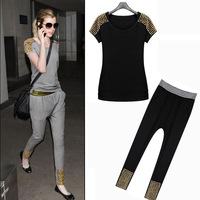 2014 new spring summer women's European and American Two piece Set Casual Loose of metal rivets,Fresh T-shirts Tops & Tees