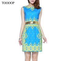 2014 summer fashion women esthetic vintage print paillette elegant slim one-piece dress