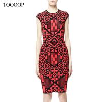 2014 spring and summer women dress  fashion o-neck red vintage print elegant slim noble elegant one-piece dress