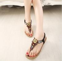 2014 lady  beading flat heel sandal  women ethnic rome  style with colorful stone flip flops   large  size 35-41 free shipping