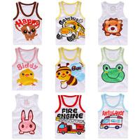1-7Y hot selling Girls vest Baby summer t shirt frog cartoon tops boy Clothing Cotton tanks sleeveless kids tank cars ambulance