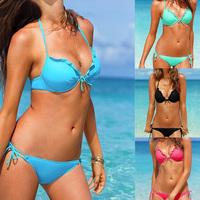 2014 New Bikini Set For Women Swimwears Push Up Bikini Red/Green/Blue/Black Bikinis Set  Top Bathing Suit