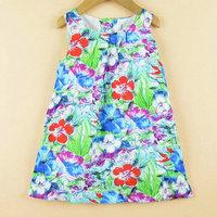 Little girl dress Flower Painting girl dresses new fashion 2014 100% cotton  floral dresses children clothing dresses