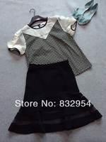 2014 summer new women organza puff sleeve cotton shirt Polka Dot Striped fishtail skirt perspective