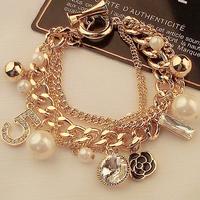 New 2014 Women Multilayer Bracelets Metal Hand Chain Pearl Vintage Individuality Punk Rock Euramerican Flower 5 Bracelet