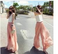 2014 fashion wide-legged big yards tall waist chiffon female trousers