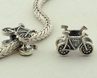 Fj011 925 pure silver jewelry diy beads bicycle bead silver beads
