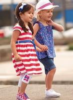 100% cotton 2014 summer child clothing children clothes girls dress baby Princess sleeveless Striped dresses  children clothing