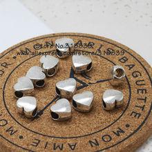 (30 pieces/lot) 7*11*11mm Antique Silver Metal Big Hole Beads 3D Heart Beads Findings Fit Fit Pandora Bracelets 7225