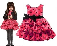 Retail Promotion new 2014 summer girl dresses kids dress girl red and pink girl's princess dress