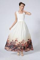 2Color Elegant Cute Women Print Maxi Dress Chiffon Vintage Ladies Slim Party Evening Long Dress Big Size 2014 New Fashion Summer