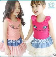 Free shipping wholesale girls kitten piece fitted sleeveless vest + skirt,100-140cm ,5pcs/lot