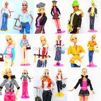 5 Sets Outfit Unique Design Handmade Doll Dresses Clothing Suit Coat Pants Accessories For Kurhn Barbie Doll Children Kids Gift