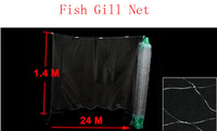24M x 1.4M 4x4cm Square Mesh Hole Fishing Fish Gill Monofilament Net 2pcs