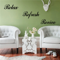 Wallpapers inspirational quotes'Relax, Refresh, Revive 'home decor PVC Bedroom living room cheap vinyl wall art stickers