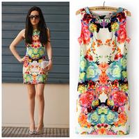 Women Vest Dresses 2014 New Summer Doodle Print Flower Women's Vintage Slim Cotton Sleeveless Casual Mini Dress Sundress