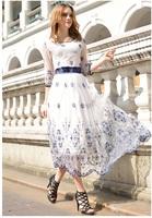 Elegant Women Print Maxi Dress Embroidery Chiffon Vintage Ladies Slim Party Evening Long Dress Big Size 2014 New Fashion Summer