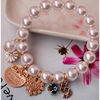 Pearl Crown Charm Bracelets For Women 5 Hand ChainVintage Rhinestone LOVE Multi-layer Korean Style Bracelets Free Shipping