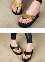Woman fashion Summer sequined sandals, a large wholesale and retail, 8color, EU Size :36-39, Free Shipping