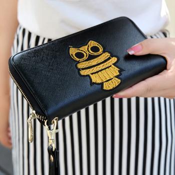 Бренд бумажник женщин сова вышитые молнии с длинным клатч кошелек кошельки carteira feminina billeteras