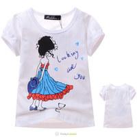 2014 New Summer Next Girls Cartoon White Girls Love Printed 100%Cotton Short Sleeve Tee Shirts Children Fashion Cute Hot T Shirt