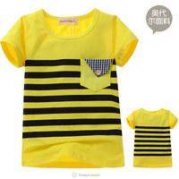 Wholesale 2014 Hot Boys Girls Yellow Striped Short Sleeve Tee Shirt Children Fashion High Quality O-Neck T-Shirts Free Shipping