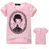 2014 Girls Summer Pink Short Sleeve Tee Shirt Kids Fashion Classic High Quality Cotton T Shirt In School Children Tops 5 Pcs/Lot