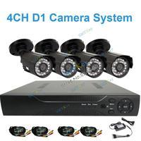 DIY Camera system 700tvl dvr kit camera system with 4pcs 700tvl Outdoor watproof camera and 4CH D1 DVR camera kit