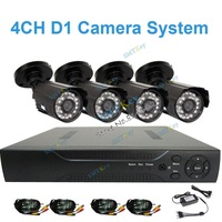 DIY Camera system 700tvl dvr kit camera system with 4pcs 700tvl Outdoor watproof camera and 4CH D1 DVR camera kit