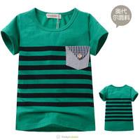 Free Shipping 2014 Next Unisex Green High Quality Striped Short Sleeve Tee Shirt Children Summer Hot T-Shirt Kids Tops 5 Pcs/Lot