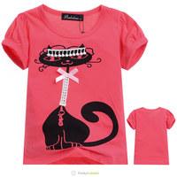 Wholesale Summer Girls Deep Pink Cat Short Sleeve Clothing Children Fashion Character T-Shirt Kids 100% Cotton Brand Tee Shirt