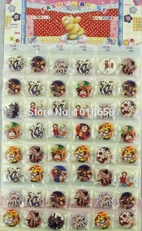 Japan anime one piece cartoon cosplay Badge Button pin random 48pcs/lot(China (Mainland))