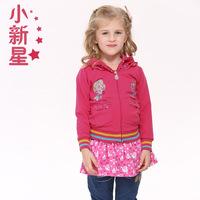 nova 2014 Spring new girls long-sleeved jacket embroidered flowers lovely solid coat F2900