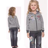 2014nova new spring and summer girls navy striped coat jacket F3372 wild cartoon embroidery patterns