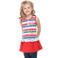 2014 spring children's clothing girls dress girls short sleeve rainbow stitching Korean princess dress H4050