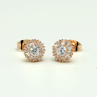 2014 delicate elegant stud earring Women quality zircon charming cute stud earring