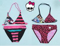 Retail Free Ship 6-12T Kids Girls Swimwear Brand swimwear  Monster High Baby Girls Summer BeachSuit Cartoon Design Child Bikini