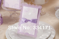 2014 spring new 50pcs/set free envelop and free seal Romantic Lilac Wedding Invitation With Ribbon  CW003