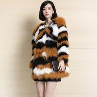 2014 medium-long formal leopard print long-sleeve o-neck female fur outerwear new arrival female Y8AP1