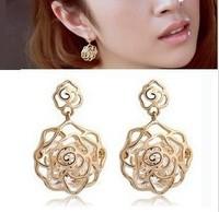 Small accessories cutout zircon crystal earrings earring rose dangle earring  female
