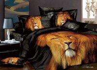 luxury gift  man bedding set  Quilt duvet comforter cover bed sheet 100% cotton lion bed set 4pcs tiger bedclothes
