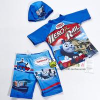 Child swimwear male child baby thomas sunscreen short-sleeve split swimwear swimsuit hot springs