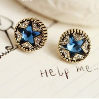 Accessories rudder crystal diamond cz five-pointed star stud earring earrings female